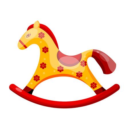 schommelpaard: Speelgoed hobbelpaard versierd met bloemen geïsoleerd op een witte achtergrond.