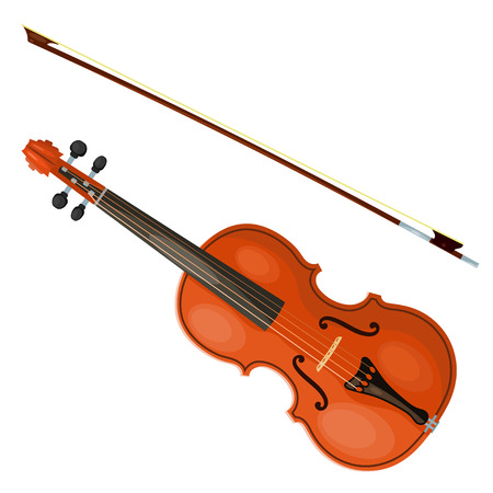 Violin and bow isolated on white background.