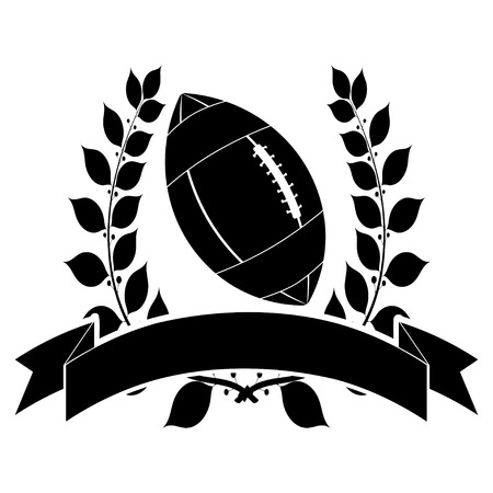 Black silhouette of an American football ball with laurel wreath and ribbon.  Vector