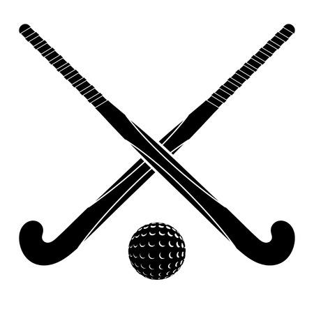 field hockey: Dos siluetas negras palos de hockey sobre c�sped y la bola sobre un fondo blanco.