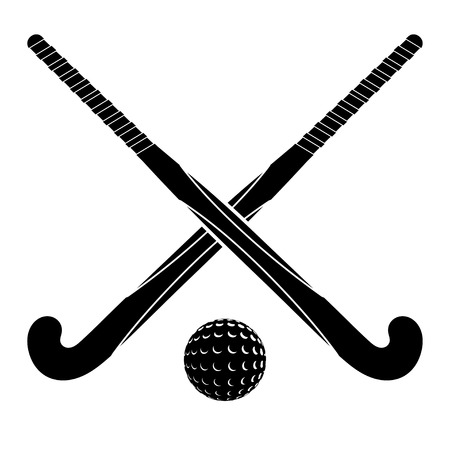 Two black silhouettes sticks for field hockey and ball on a white background.  Illusztráció