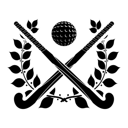 hockey cesped: Negro silueta de dos palos de hockey sobre c�sped y la bola con una corona de laurel. Vectores