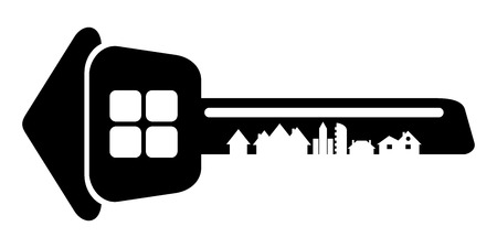 the builder, house key isolated on white background. Silhouette of the citys architecture.  Vector