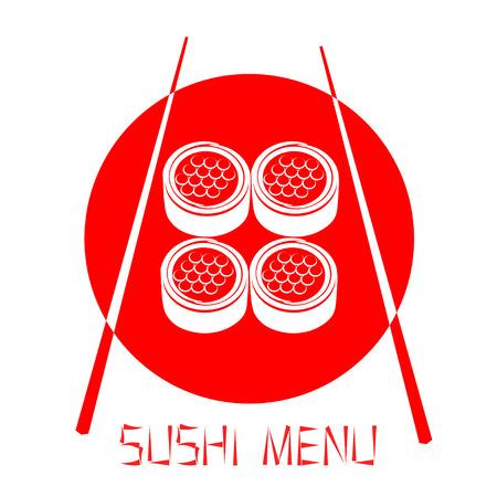 caviar: Conception rouge de restaurant japonais, sushi au caviar rouge isol� sur fond blanc. menu Sushi.