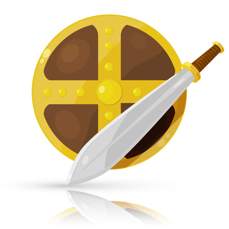 crusades: Shield and sword isolated on white background.