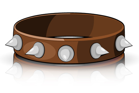 Collar brown with white spikes isolated on a white background.