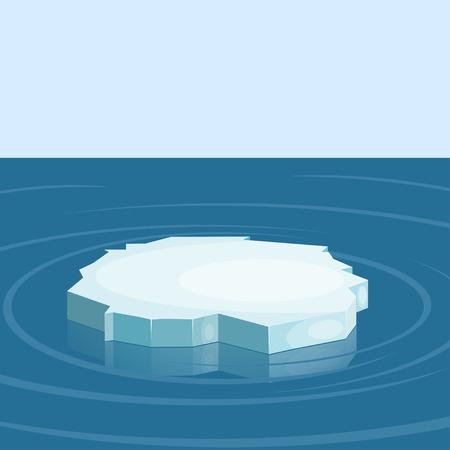 Floe in the sea. Winter. Illustration