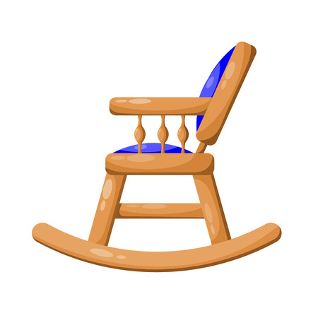 analogous: Blue wooden rocking chair isolated on white background.