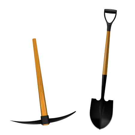 Spade and picks isolated on white background.