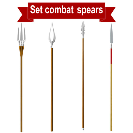barbaric: Set combat spears isolated on a white background.