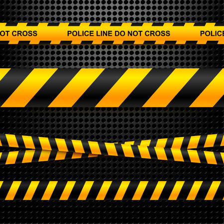 Set of ribbons police lines on a black background technology.  Vector