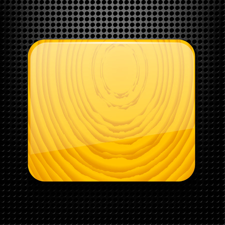 Technological black background with holes and a wooden plate.  Vector