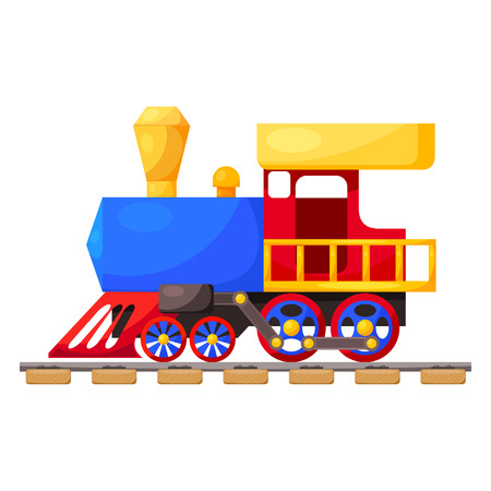 steam locomotive: Red blue train on the railroad isolated on white background. Cartoon. Vector illustration.