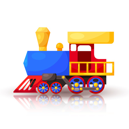 Red blue train with shadow and reflection. Cartoon. Vector illustration.  Vector