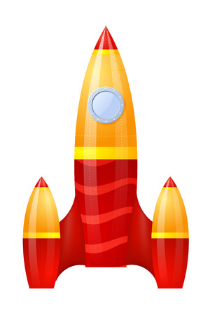 booster: Yellow-red rocket isolated on white background. Cartoon. Vector illustration.   Illustration