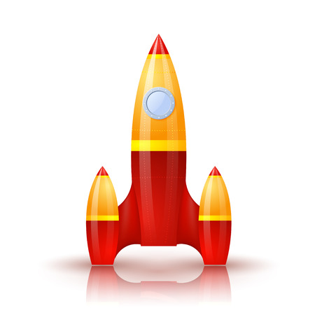 booster: Yellow-red rocket with shadow and reflection. Cartoon. Vector illustration.