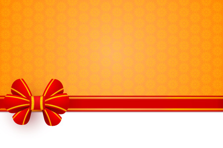 Red bow gift wrapping on an orange flower background. Vector illustration.  Vector