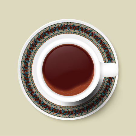 Cup of coffee and tribal texture on a saucer. Vector illustration Vector