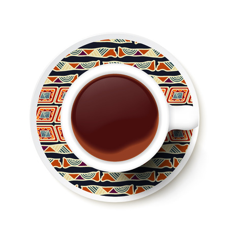 Cup of coffee and ethnic pattern  on a saucer. Vector illustration Vector