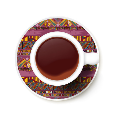 Cup of coffee and ethnic texture on a saucer. Vector illustration Vector