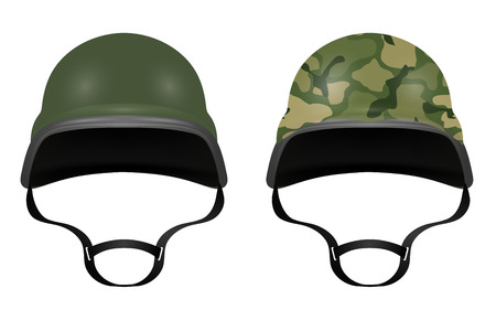 army background: Military helmets isolated on white background. Vector illustration