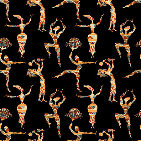 Ethnic seamless texture with figures of dancing people. Vector illustration