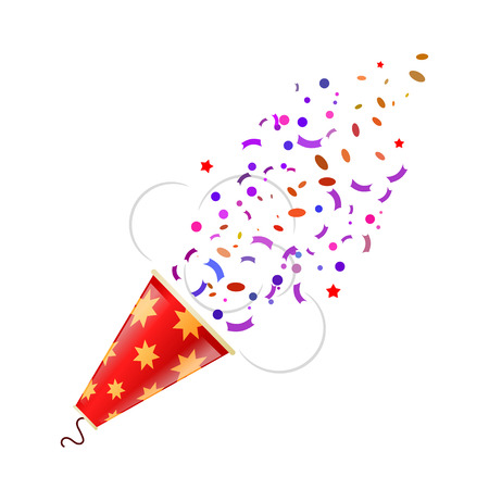 Exploding color poppers with confetti isolated on white background. Vector illustration. Illustration
