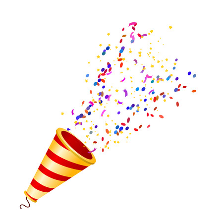 Exploding fullcolor poppers with confetti isolated on white background. Vector illustration.