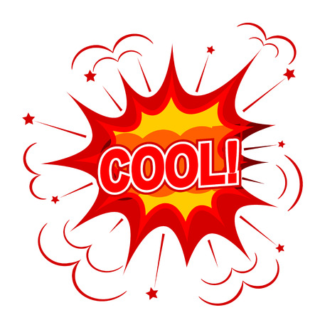 Cartoon COOL! on a white background. Vector illustration. Vector