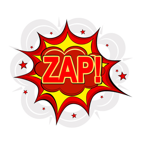 zap: Cartoon ZAP! on a white background. Vector illustration.
