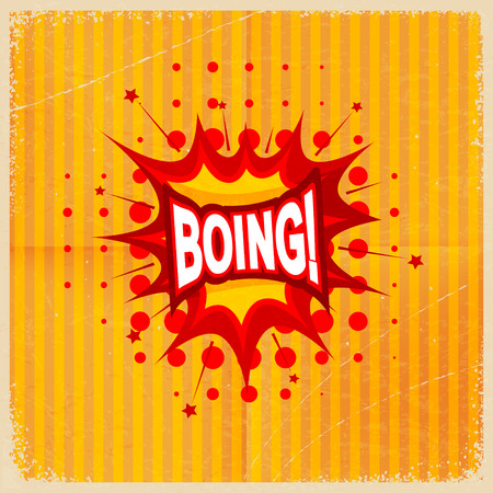 boing: Cartoon blast BOING! on a yellow background, old-fashioned. Vector illustration.