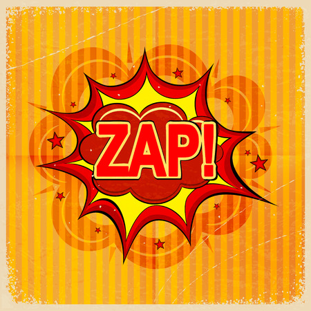 zap: Cartoon blast ZAP! on a yellow background, old-fashioned. Vector illustration. Illustration