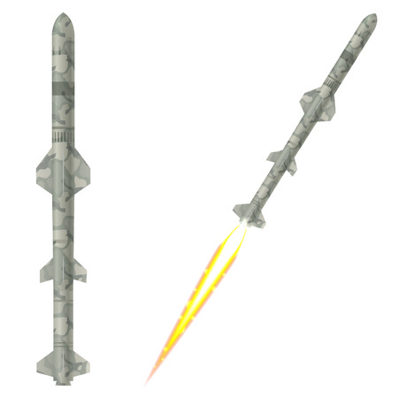 warhead: Military two-stage rockets on a white background. Vector illustration