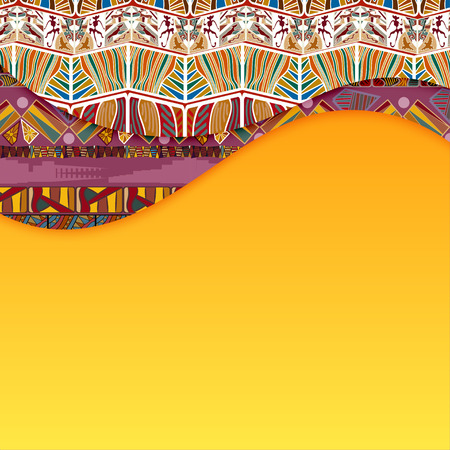yellow african: Abstract background with elements of Tribal. Vector illustration