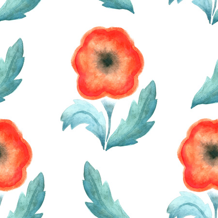 screen savers: Seamless pattern with red vintage flower watercolor. Vector illustration. Design pattern for wallpaper, fabrics, screen savers.