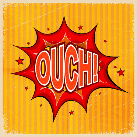 ouch: Cartoon blast OUCH! on a yellow background, old-fashioned. Vector illustration. Illustration