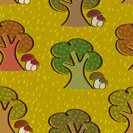 Bright seamless background with trees and mushrooms in a simple style. Autumn.  Vector