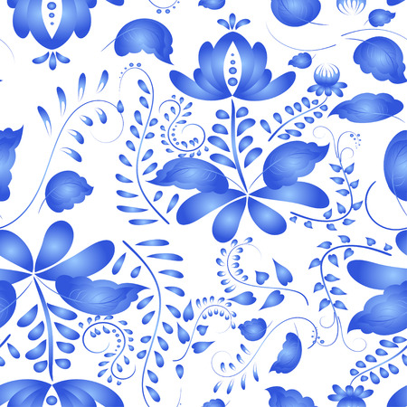 flooring design: Seamless pattern in the Russian traditional style. Gzhel painted.  Illustration
