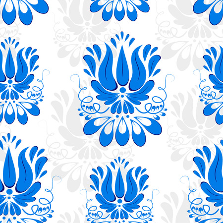 tile flooring: Seamless background with blue ornament. Gzhel style. Wallpaper. Vector illustration.