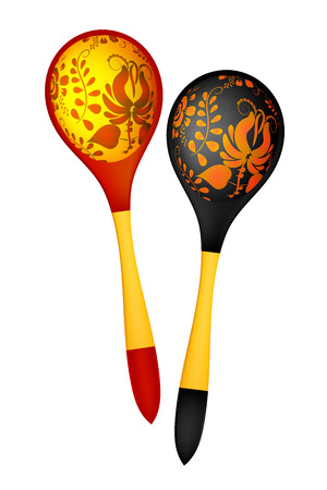 Two wooden spoons in the Russian national style. Vector illustration. Vector
