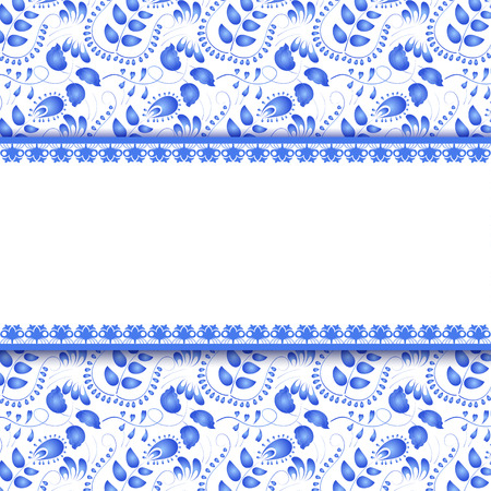 traditional pattern: Seamless floral background with a field for the text. Gzhel. Vector illustration.