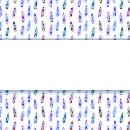 tile flooring: White field for the text on seamless background with purple ornament. Gzhel style. Spikelet. Vector illustration.