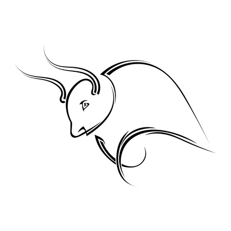 Single black silhouette of  a horned bull on a white background. Vector