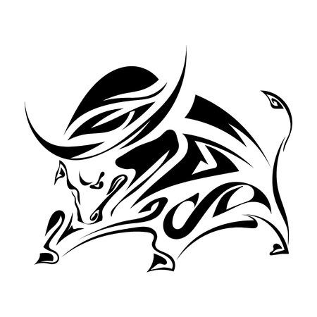 toro arrabbiato: Singolo silhouette nera di un corna, toro arrabbiato su uno sfondo bianco.