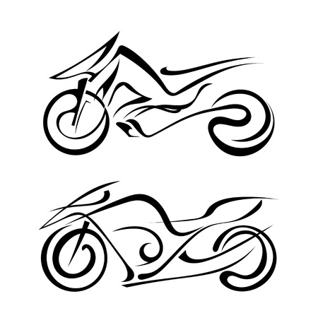 Two black silhouette of a motorcycles on a white background Иллюстрация