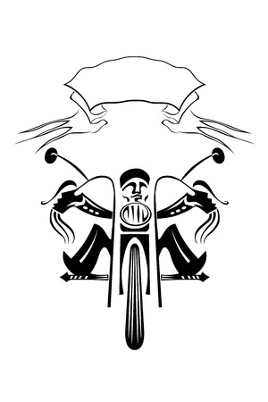 Black silhouette of a biker on a motorcycle on a white background. Vector illustration.