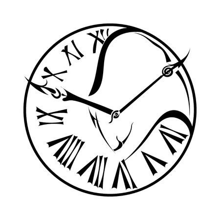 Black silhouette of a bull on the dial wall clock isolated on white background.  Illustration
