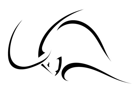 Sketch the profile of a bull isolated on a white background.