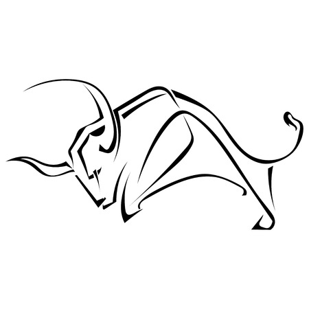 Isolated black silhouette of a bull on a white background. Bullfighting. Logo, trademark farm. Vector illustration.