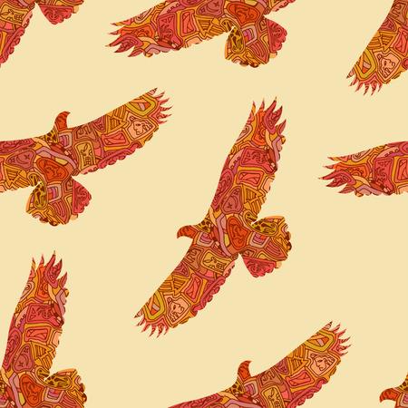 aguila americana: Patr�n tribal decorativo sin fisuras con las �guilas. Ilustraci�n vectorial Vectores